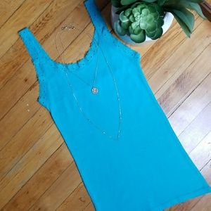 Amisu - Lace Tank Top in Turquoise